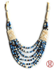 Perlenkette Duzisamor blau-weiß