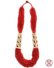 Perlenkette Weatreis rot