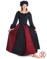 Mittelalter Rock zweifarbig braun-schwarz, rot-schwarz, grün-schwarz