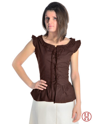 mittelalter bluse mit schnürung ärmellos braun - Frontansicht