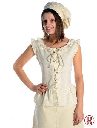 mittelalter bluse mit schnürung ärmellos natur-beige - Frontansicht