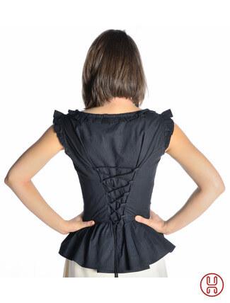 mittelalter bluse mit schnürung ärmellos schwarz - Rückansicht