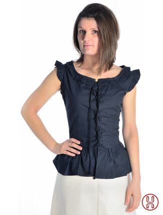 mittelalter bluse mit schnürung ärmellos schwarz - Frontansicht