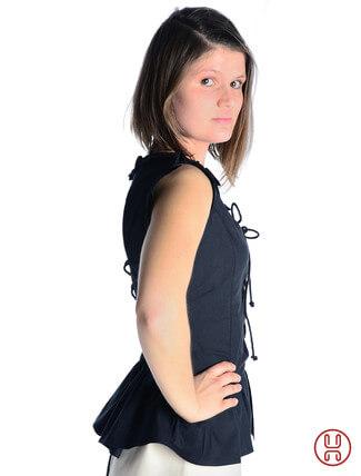 mittelalter bluse mit schnürung ärmellos schwarz - Seitenansicht