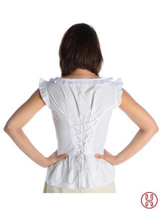 mittelalter bluse mit schnürung ärmellos weiss - Rückansicht