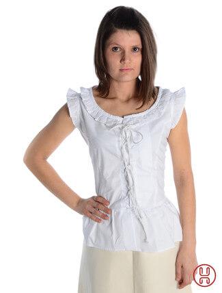 mittelalter bluse mit schnürung ärmellos weiss - Frontansicht