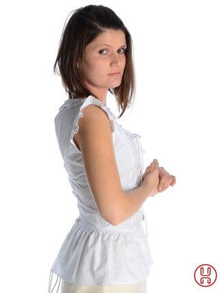 mittelalter bluse mit schnürung ärmellos weiss - Seitenansicht