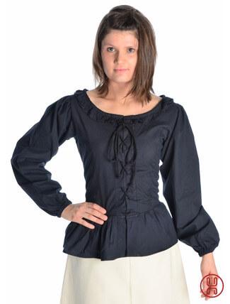 mittelalter bluse mit schnürung langarm schwarz - Frontansicht