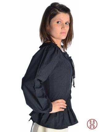 mittelalter bluse mit schnürung langarm schwarz - Seitenansicht