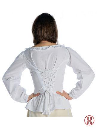 mittelalter bluse mit schnürung langarm weiß - Rückansicht