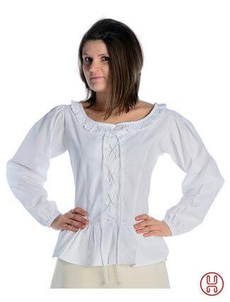 mittelalter bluse mit schnürung langarm weiß - Frontansicht