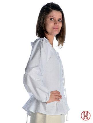 mittelalter bluse mit schnürung langarm weiß - Seitenansicht