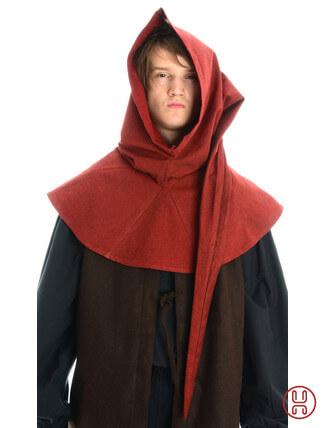 Gugel aus reiner und fester Baumwolle in rot - Frontansicht