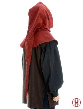 Gugel aus reiner und fester Baumwolle in rot - Rueckansicht
