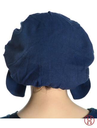 Mittelalter Haube mit Schild Baumwolle blau - Rueckansicht
