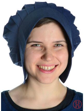 Mittelalter Haube mit Schild Baumwolle blau - Frontansicht