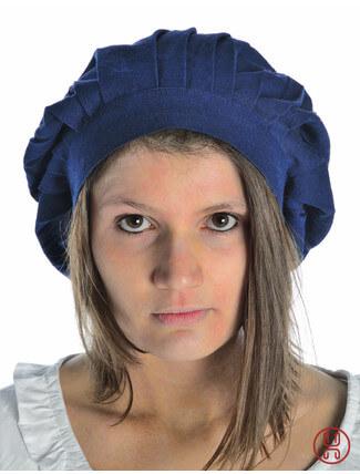 Mittelalter Haube zum Binden in blau - Frontansicht