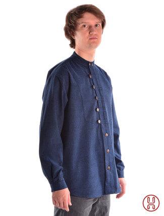 Mittelalterhemd Ache blau - Seitenansicht