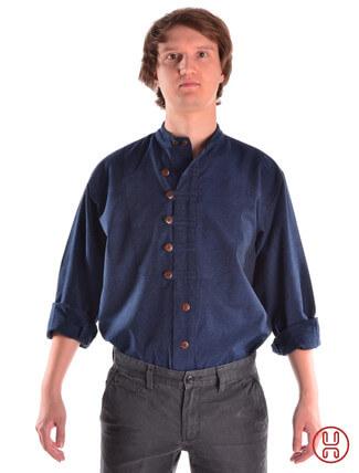 Mittelalterhemd Ache blau - Frontansicht