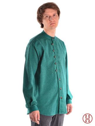 Mittelalterhemd Ache grün - Seitenansicht