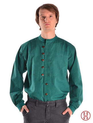 Mittelalterhemd Ache grün - Frontansicht
