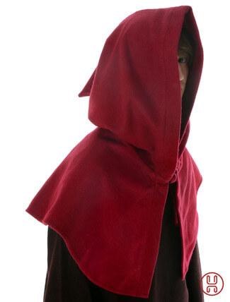 mittelalterliche Kapuze offen zum Schnueren aus Wollfilz mit Baumwollfutter in rot - Seitenansicht