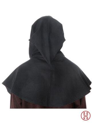 Mittelalter Kapuze offen zum Schnueren aus reiner und fester Baumwolle in schwarz - Rueckansichtansicht