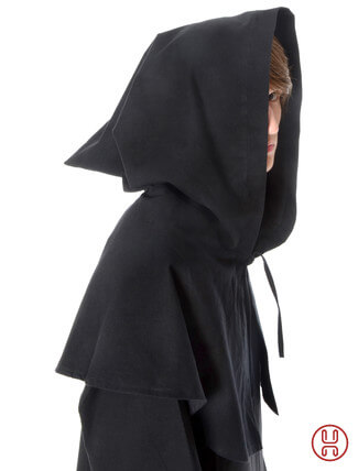 Mittelalter Kapuze offen zum Schnueren aus reiner und fester Baumwolle in schwarz - Seitenansicht