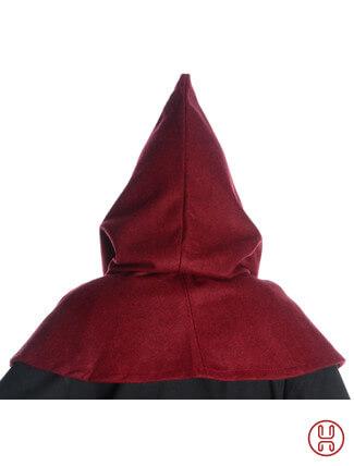 Mittelalter Kapuze aus Wollfilz in rot - Rueckansicht