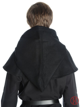 Mittelalter Kapuze aus Wollfilz in schwarz - Rueckansicht