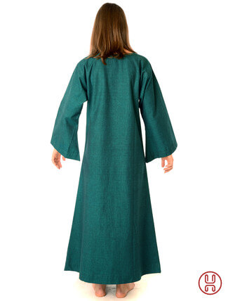 Mittelalter Unterkleid grün - Rueckansicht