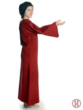 Mittelalter Unterkleid rot - Seitenansicht