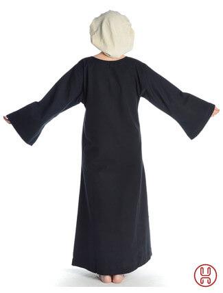 Mittelalter Unterkleid schwarz - Rueckansicht