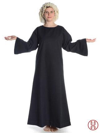 Mittelalter Unterkleid schwarz - Frontansicht