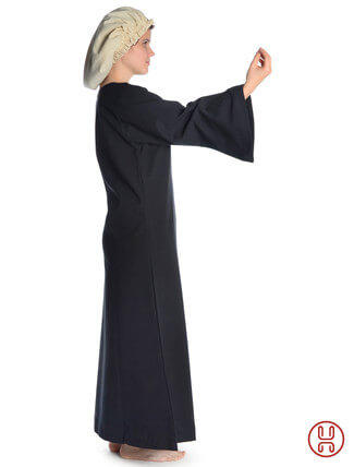 Mittelalter Unterkleid schwarz - Seitenansicht