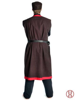 Mittelalter Mantel Wams Herold braun - rot Rückansicht