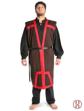 Mittelalter Mantel Wams Herold braun - rot Frontansicht