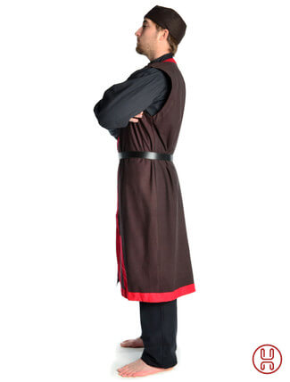 Mittelalter Mantel Wams Herold braun - rot Seitenansicht