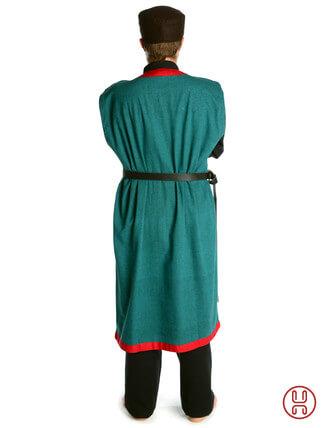 Mittelalter Mantel Wams Herold grün - rot Rückansicht