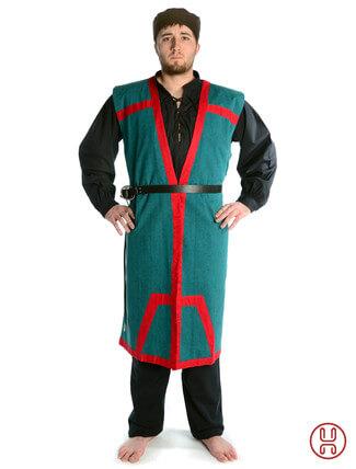 Mittelalter Mantel Wams Herold grün - rot Frontansicht