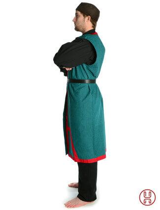 Mittelalter Mantel Wams Herold grün - rot Seitenansicht
