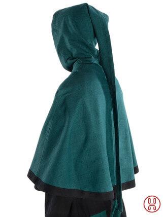 Mittelalter Pelerine mit Gugel aus Baumwolle in gruen - Seitenansicht