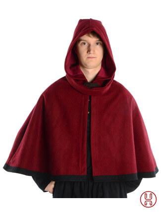 mittelalterliche Pelerine mit Gugel aus Wollfilz in rot - Frontansicht