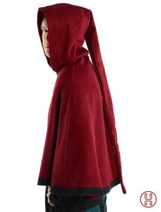 mittelalterliche Pelerine mit Gugel aus Wollfilz in rot - Seitenansicht