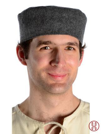 Mittelalter Kappe Wollfilz grau - Frontansicht