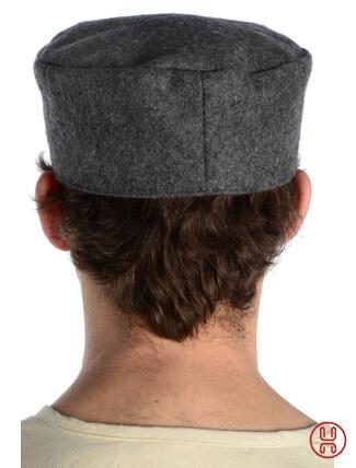 Mittelalter Kappe Wollfilz grau - Rueckansicht