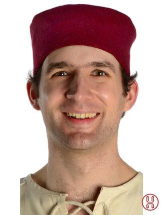 Mittelalter Kappe Wollfilz rot - Frontansicht