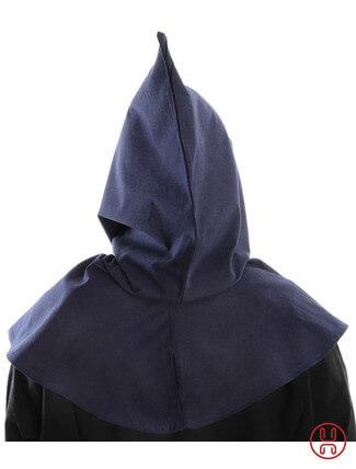Mittelalter Kapuze aus Baumwolle in blau Rueckansicht