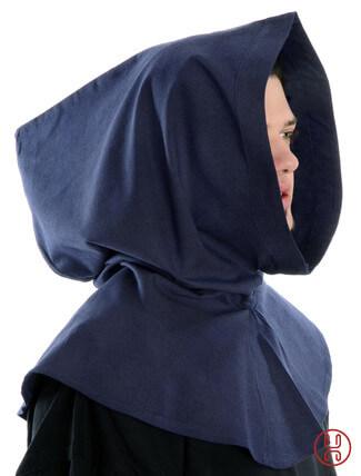 Mittelalter Kapuze aus Baumwolle in blau Seitenansicht