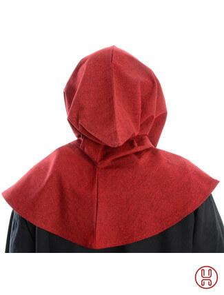 Mittelalter Kapuze aus Baumwolle in rot Rueckansicht